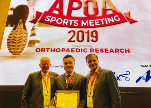 中西雄太先生がAsia Pacific Orthopaedic Association (APOA) Sports Meeting 2019にてJB Excellence in Sports Surgery AwardのRUNNER-UP(2位)を受賞されました。